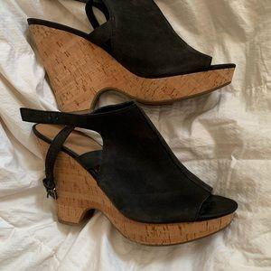 Franco Sarto Cork Heel Black Sandals Sz 11